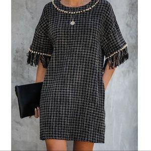Fringe tweed pom pom detailed pocketed mini dress